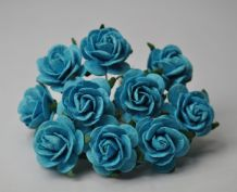 2.5cm TURQUOISE BLUE Mulberry Paper Roses (only flower head)